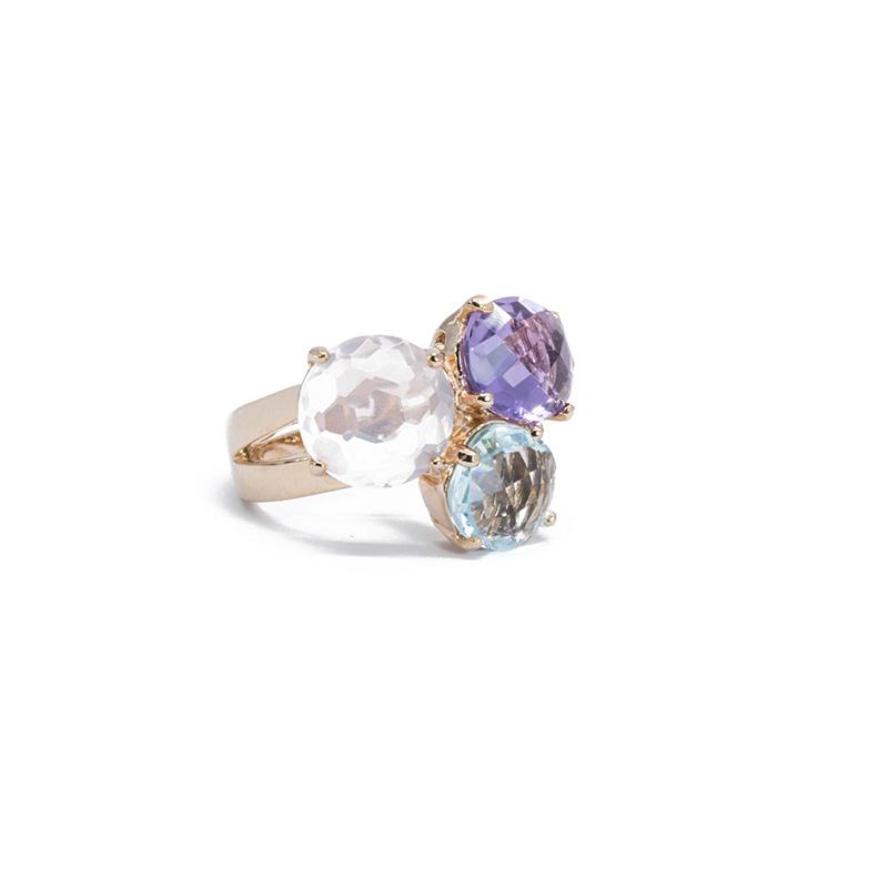 Anillo plata rosa y piedras